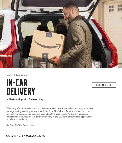 Amazon In Car Delivery is available with Volvo On Call and Amazon Key at Culver City Volvo Cars