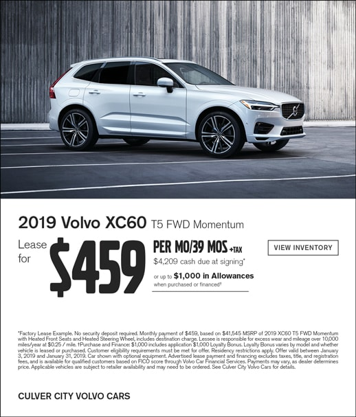 2019 Volvo XC60 Now on Special Lease Offer at Culver City Volvo