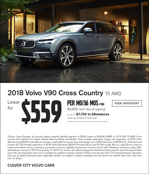 Special lease offer on 2018 Volvo V90 Cross Country at Culver City Volvo Cars