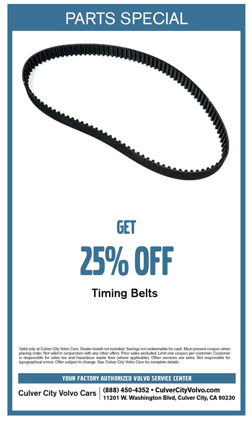 Special parts discount offer on timing belts at Culver City Volvo