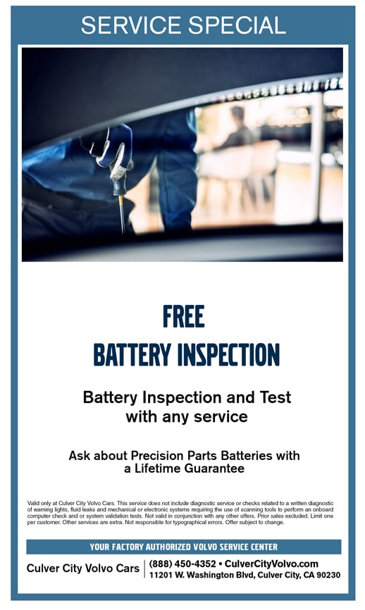 Free Battery Inspection and Test at Culver City Volvo Cars