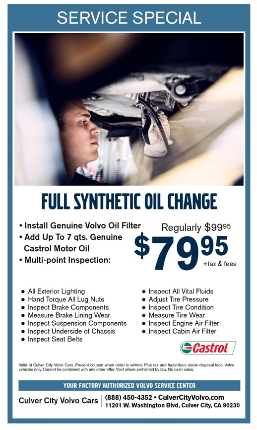 Culver City Volvo Cars offers a Full Synthetic Oil Change Coupon