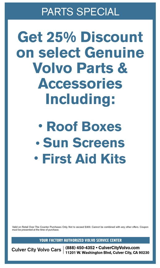 Special discount offer on select new Volvo Accessories at Culver City Volvo Cars