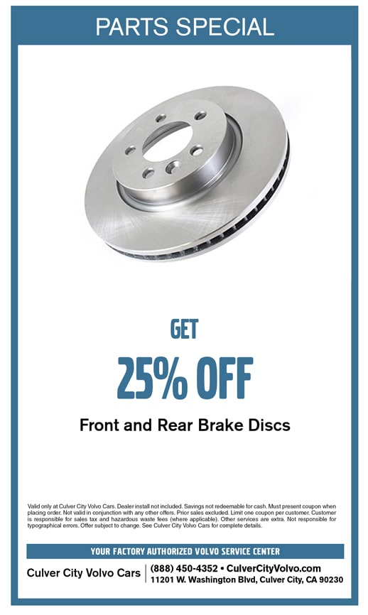 Special parts discount offer on brakes at Culver City Volvo