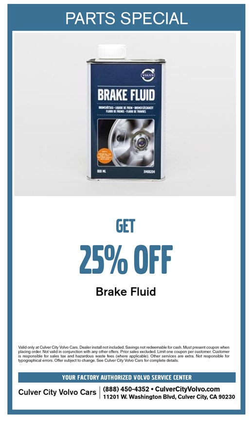 Special parts discount offer on brake fluid at Culver City Volvo