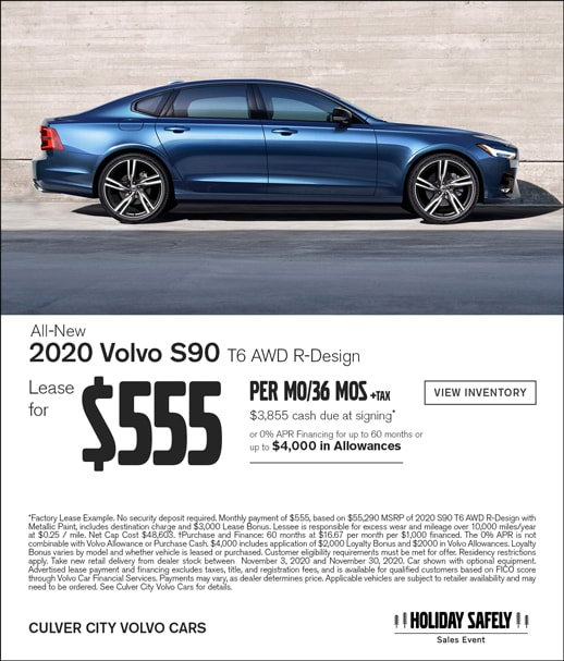 Special Lease offer on the all-new Volvo S90 R-Design at Culver City Volvo Cars