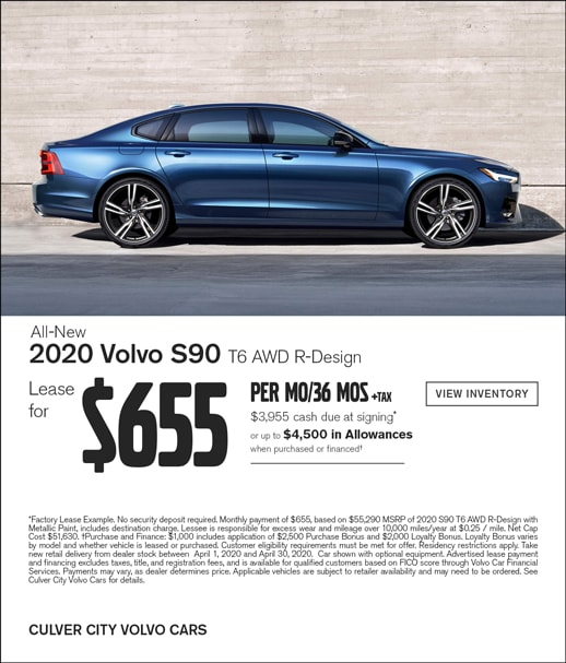 Special Lease offer on the all-new Volvo S90 AWD R-Design at Culver City Volvo Cars