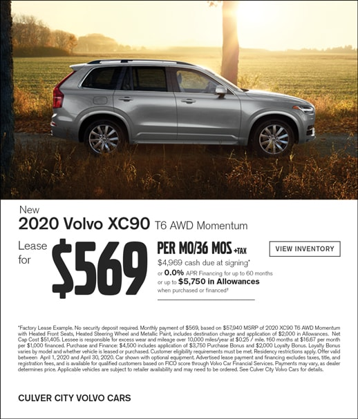 Special lease offer on a new XC90 at Culver City Volvo