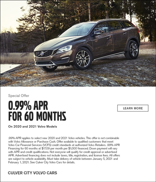 Special 0% APR for 60 months offer on 2021 Volvo Models at Culver City Volvo Cars