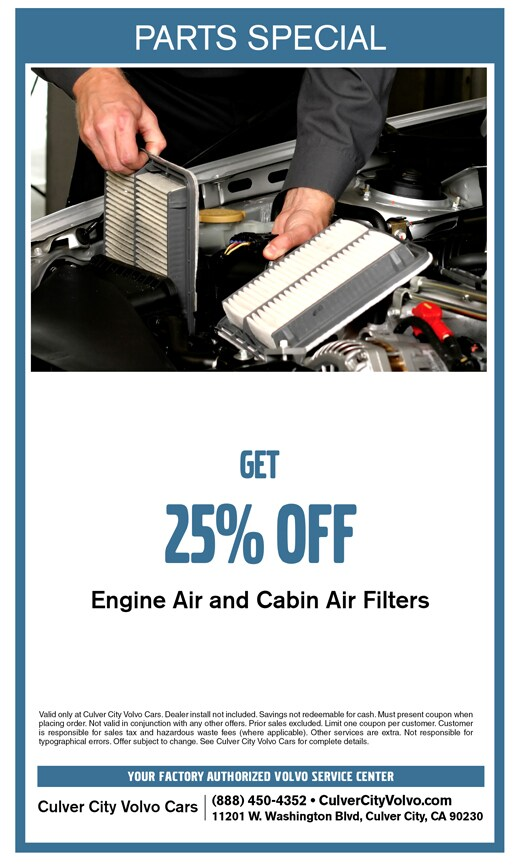 Save on any Engine Air Filter or Cabin Air Filter at Culver City Volvo Cars