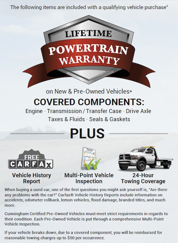 Powertrain Warranty Coverage >> Lifetime Powertrain Warranty Cunningham Chrysler Of Edinboro