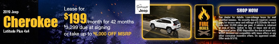 2019 Jeep Cherokee - August Offer