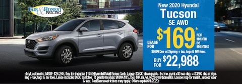 New 2020 Hyundai Tucson SE AWD: Lease for $169 per month 36 months