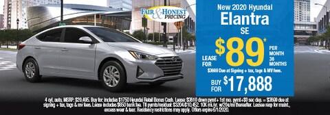 New 2020 Hyundai Elantra SE: Lease for $89 per month 36 months
