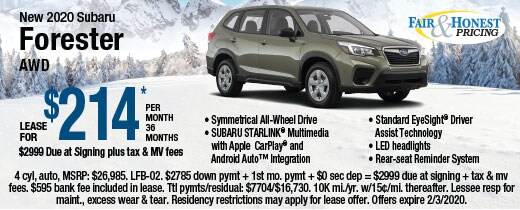 New 2020 Subaru Forester AWD: Lease