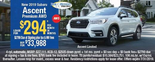 *New 2019 Subaru Ascent Premium AW: Lease for $294*