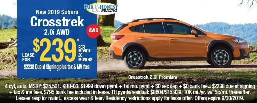 *New 2019 Subaru Crosstrek 2.0i AWD: Lease for $239* per mo 36 mos.