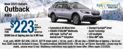 New 2020 Subaru Outback AWD: Lease