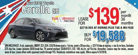 New 2019 Toyota Corolla SE: Lease