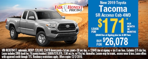 *New 2019 Toyota Tacoma SR Access Cab 4WD: Lease for $171 per month