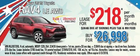 New 2019 Toyota RAV4 LE AWD: Lease