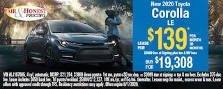 New 2020 Toyota Corolla LE: Lease for $139 per month 36 months.