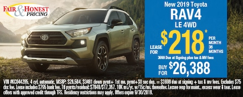 *New 2019 Toyota RAV4 LE 4WD: Lease for $218 per month 36 months