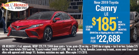 *New 2019 Toyota Camry LE: Lease for $185