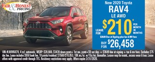 *New 2020 Toyota RAV4 LE AWD: Lease for $210 per month 36 month