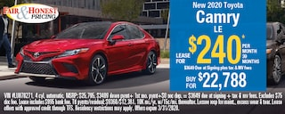 *New 2020 Toyota Camry LE: Lease for $240 per month 39 month