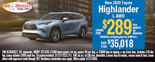 *New 2020 Toyota Highlander L AWD: Lease for $289 per month 39 months