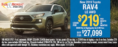 *New 2019 Toyota RAV4 LE AWD: Lease for $219*
