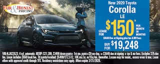 New 2020 Toyota Corolla LE: Lease for $150 per month 36 months