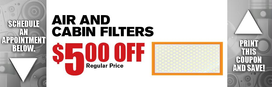 Air And Cabin Filter Camelback Toyota Service Coupon
