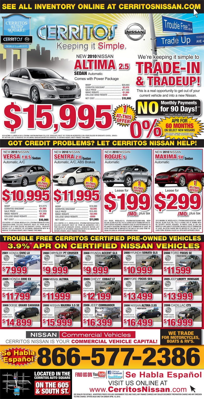 Nissan Leaf Lease >> Nissan News | Weekly Specials | New & Used Car Specials