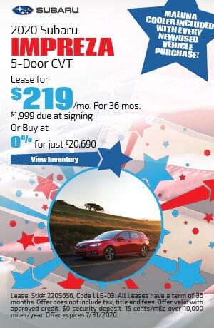 July 2020 Subaru Impreza 5-Door CVT Offer