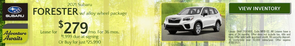 April 2021 Subaru Forester w/ alloy wheel package Offer