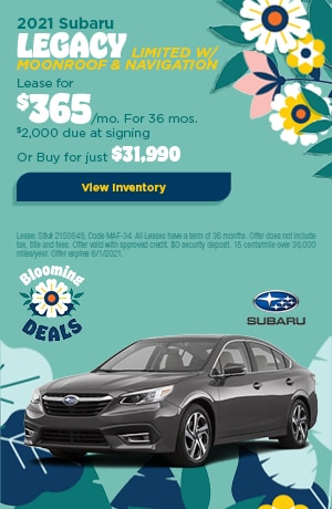 May 2021 Subaru Legacy Limited w/ moonroof & navigation Offer