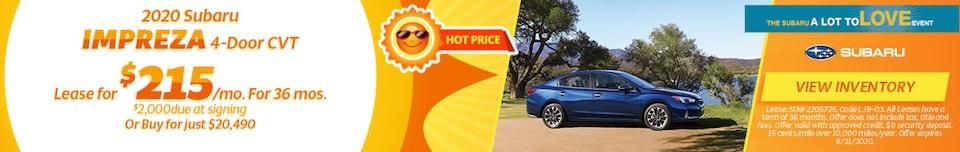 August 2020 Subaru Impreza 4-Door CVT Offer