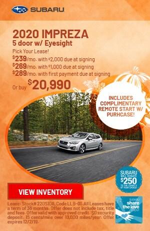 November 2020 Impreza 5 door w/ Eyesight Offers