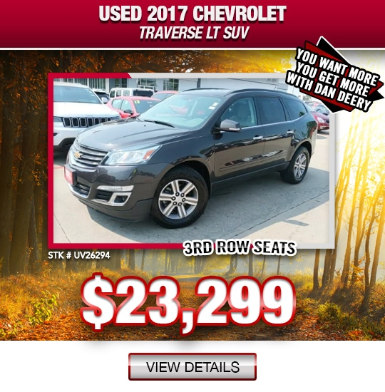$23,299 Purchase Offer On A Used 2017 Chevrolet Traverse LT SUV
