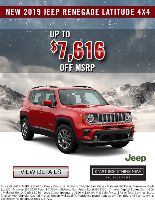 Up to $7,616 Off MSRP on a New 2019 Jeep Renegade Latitude 4x4