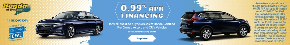 .99% APR Financing on Select Honda Certified Pre-Owned Accord and CR-V