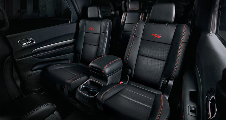 A view of the all-leather interior of a 2018 Dodge Durango