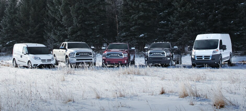 The Ram Model lineup parked in snow