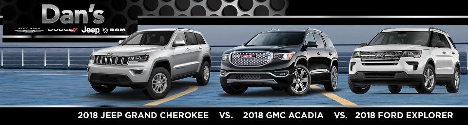 2018 Jeep Grand Cherokee vs. GMC Acadia vs. Ford Explorer ...