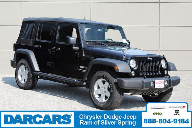 Certified Pre-Owned 2018 Jeep Wrangler JK Unlimited Sport 4x4 SUV in Silver Spring
