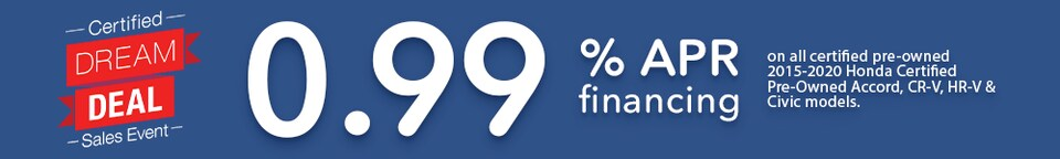 Certified Dream Deal Sales Event .99% APR