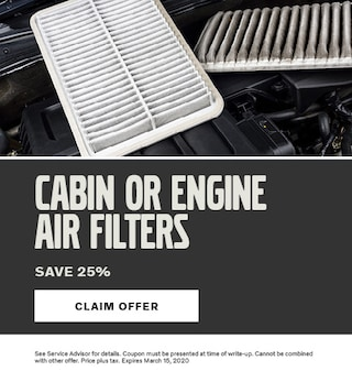 Cabin or Engine Air Filters Special Save 25%
