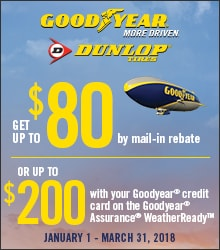 Goodyear Dunlop $80 by Mail-in Rebate